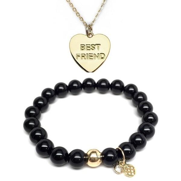 "Black Onyx 7"" Bracelet & Best Friend Heart Gold Charm Necklace Set"