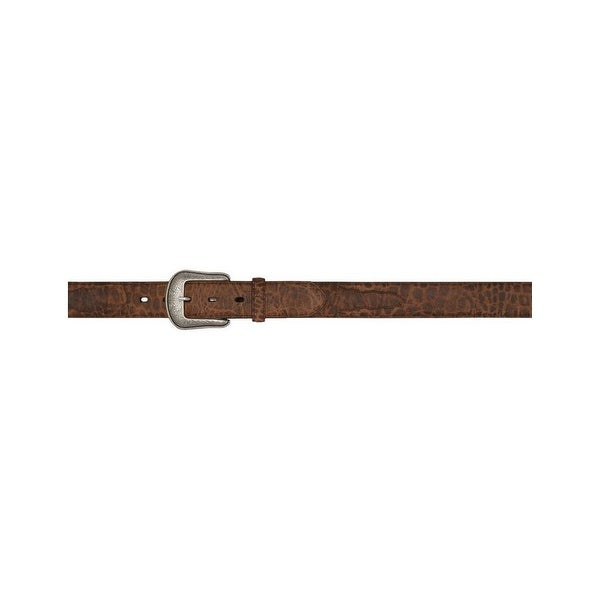 3D Belt Mens Western Gator Overlay Feathered Rustic Brown