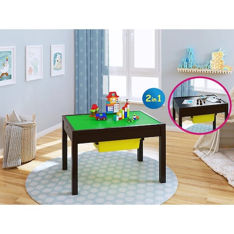UTEX-2 in 1 Kids Large Activity Lego Table with Storage, Espresso