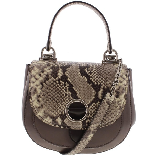 Michael Kors Womens Isadore Saddle Handbag Leather Snake Print Medium