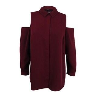 Alfani Women's Plus Size Cold-Shoulder Shirt - marooned