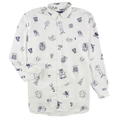Ralph Lauren Mens Graphic Print Button Up Shirt, White, 2XLT