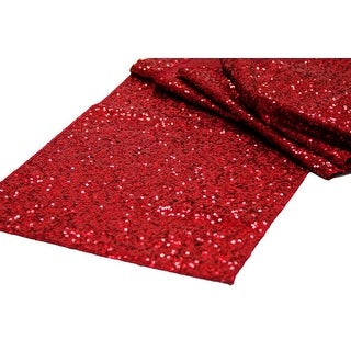 """Glitz Sequin Table Runner Sequin all over on Taffeta base Approx. 12""""x108"""" - Apple Red, 1 Piece"""