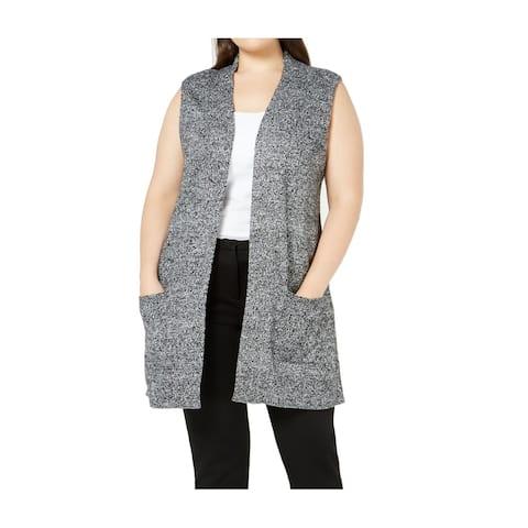 Karen Scott Women Sweater Gray Size 1X Plus Vest Marled Knit Dual Pocket