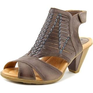 Earth Libra Women Open-Toe Leather Gray Slingback Sandal
