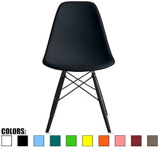 2xhome Black - Eames Style Bedroom & Dining Room Side Ray Chair with Eiffel Dark Wood Dowel Legs