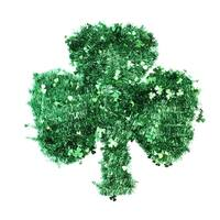 "17"" St. Patrick's Day Irish Shamrock Tinsel Window Decoration - Green"