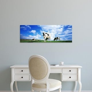 Easy Art Prints Panoramic Images's 'Cows In Field, Lake District, England, United Kingdom' Premium Canvas Art