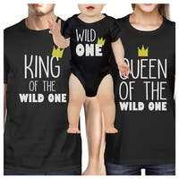 King Queen Wild One Crown Family Black Matching Clothes Baby Shower Gift