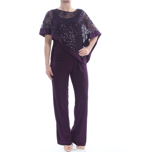 R&M RICHARDS Womens Purple Sequined Capelet Pull On Straight leg Formal Jumpsuit Size: 12