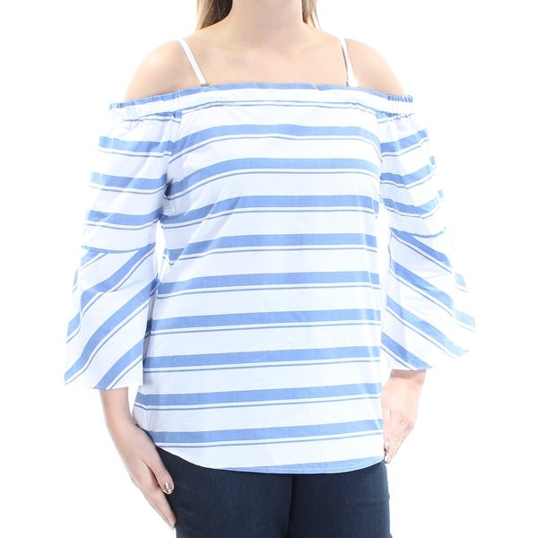 b80adbb1635a8 Shop CALVIN KLEIN Womens White Striped Spaghetti Strap Off Shoulder Top  Size  L - Free Shipping On Orders Over  45 - Overstock.com - 21331415