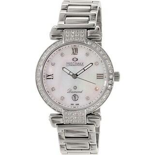 Precimax Women's Siren Diamond PX13332 Silver Stainless-Steel Plated Dress Watch