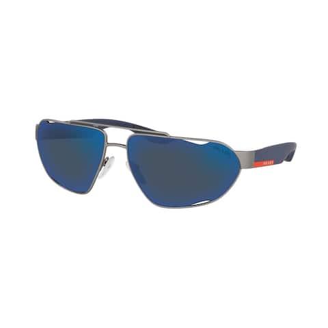 Prada Linea Rossa PS 56US DG1387 66 Gunmetal Rubber Man Irregular Sunglasses