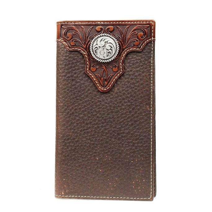 Ariat Tooled Overlay and Round Concho Rodeo Wallet Light Brown