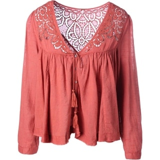Free People Womens Crochet Trim Long Sleeves Button-Down Top - S