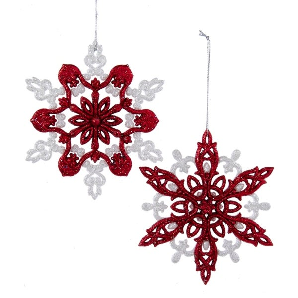 """Club Pack of 24 Nordic Red and White Glitter Snowflake Christmas Ornaments 5"""""""