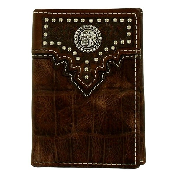 Ariat Western Wallet Mens Croco Print Trifold Nailheads Brown - One size