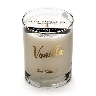 Warm Vanilla Scented Glass Candle, Soy Wax, Up To 110 hrs.of Burn Time