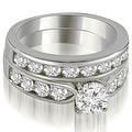 2.95 cttw. 14K White Gold Classic Channel Set Round Cut Diamond Bridal Set - Thumbnail 0