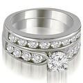 3.20 cttw. 14K White Gold Classic Channel Set Round Cut Diamond Bridal Set - Thumbnail 0