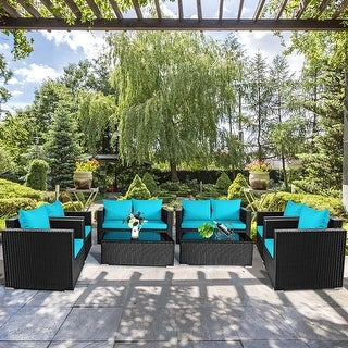 Costway 8PCS Patio Rattan  Cushioned Sofa Chair Coffee Table Turquoise