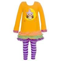 Bonnie Jean Little Girls Orange Owl Moon Print Halloween 2 Pc Pant Set