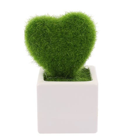 Unique Bargains Home Office Plastic Heart Shaped Plant Pot Bonsai Table Ornamental Green