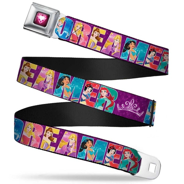 Princess Gem Heart Full Color Black Pink Disney Dreamer 7 Sparkling Seatbelt Belt