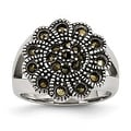 Chisel Stainless Steel Textured Flower Marcasite Ring (17 mm) - Thumbnail 0