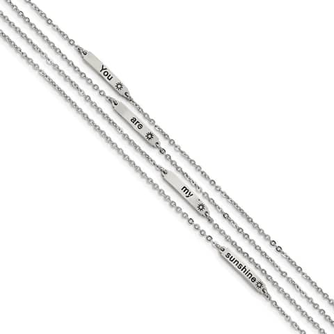 Chisel Stainless Steel Polished Enameled Sunshine 6.5 Inch with 0.75-inch Extension Bracelet