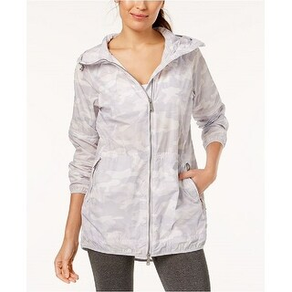 Calvin Klein Performance Women's Camo-Print Packable Hooded Jacket White Size Medium - 10