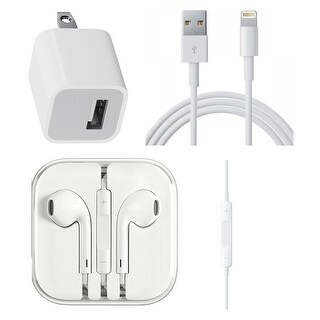 Wall Charger, Lighting Cable & Earpod for Apple iPhone includes Lightning Cable, Wall Adapter & Earpod-Bulk Pack