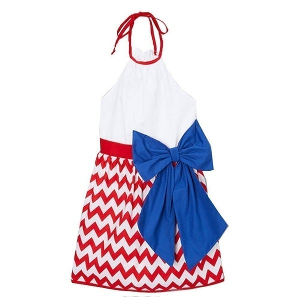 87fdc0db52f43 Shop Little Girls Red White Chevron Blue Bow Accent Halter Patriotic Dress  12M-6 - Free Shipping On Orders Over $45 - Overstock - 18164610