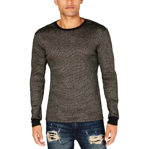 Guess Mens Pullover Sweater Metallic Ribbed