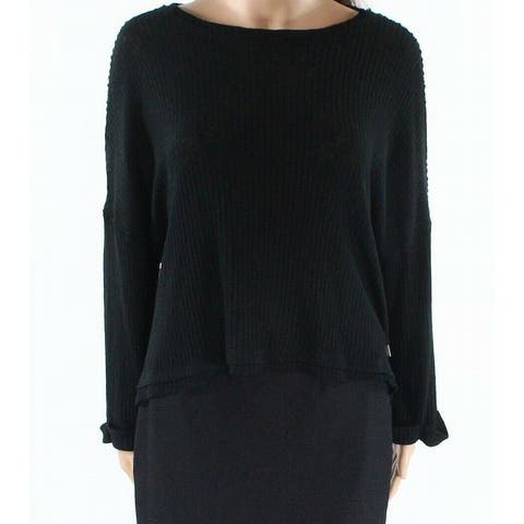 Abound Womens Ribbed Boat Neck Bell Sleeve Knit Top