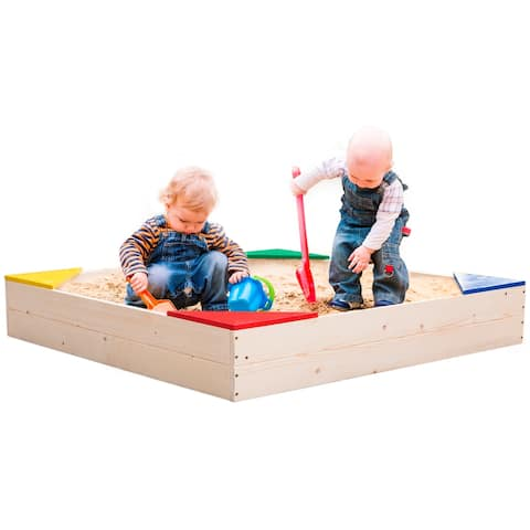Outdoor Wooden Sand Box with Floor Cover and Waterproof Protection Cover, Square Sandpit for Kids