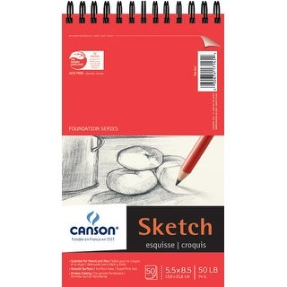 "Canson Foundation Series Spiral Sketch Paper Pad 5.5""X8.5""-50 Sheets"