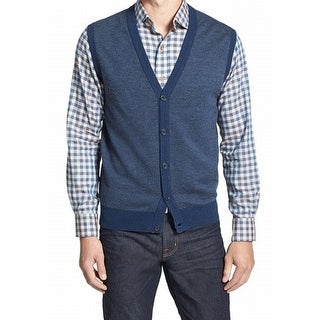Toscano NEW Blue Mens Size Medium M Button Front Vest Wool Sweater