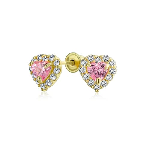 .25CT Pink Heart Halo CZ Stud Earring Imitation Topaz 14K Yellow Gold