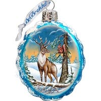 GDeBrekht 771013 Deer And Friend Glass Ornament