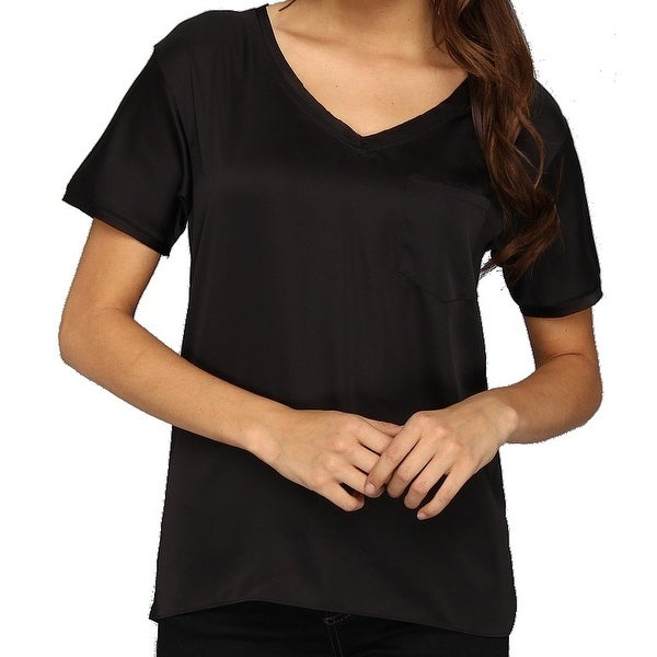 872612f2 Shop NYDJ NEW Black Women's Size XS Solid V-Neck Pocket-Front Tee T-Shirt -  Free Shipping On Orders Over $45 - Overstock.com - 19663501