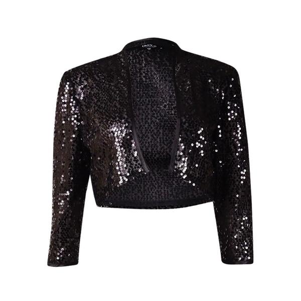Onyx Nite Women's Sequin Satin Trim Bolero - Black
