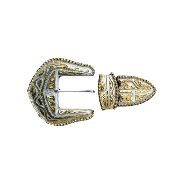Silver Strike Western Belt Buckle Filigree 3 Piece Silver Gold - One size