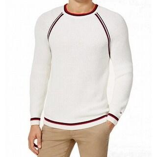 Tommy Hilfiger White Mens Size 2XL Stripe Knit Crewneck Sweater