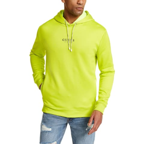 Guess Mens Sweater Green Large L Regular Fit Pocket Hooded Pullover