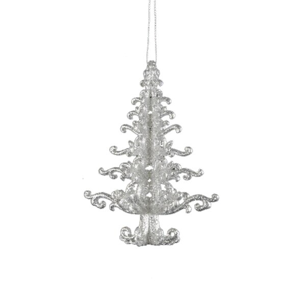 Seasons of Elegance Silver Glitter Tree Christmas Ornament