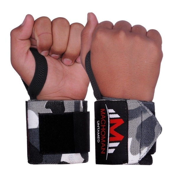 Weight Lifting Wrist Wraps Support Gym Training Bandage Straps Camo Grey B-3