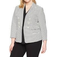Kasper Black White Womens Size 24W Plus Textured Stripe Jacket