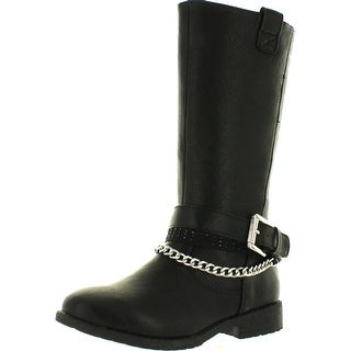 Kenneth Cole Girls Danica Moto Fashion Riding Boots With Buckle And Chain
