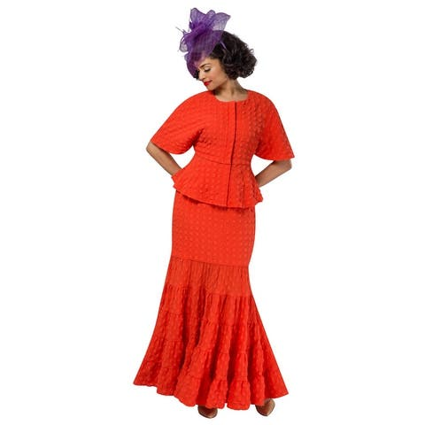 Giovanna 2pc Popcorn Short Sleeve Peplum Top & Maxi Skirt